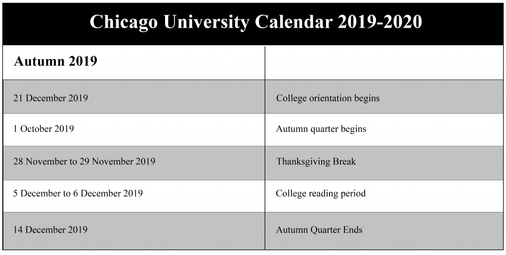Tufts Academic Calendar.University Of Chicago Academic Calendar 2019 2020 Us School Calendar