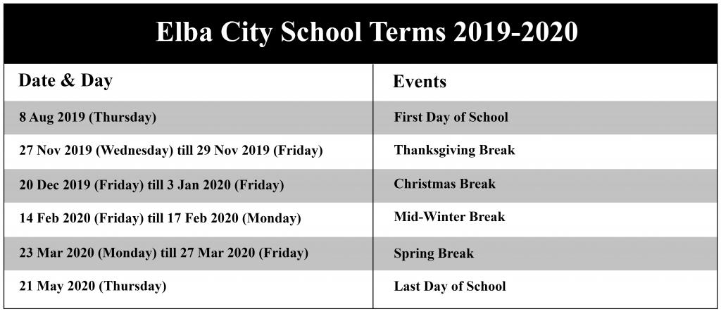 Elba City Schools Calendar