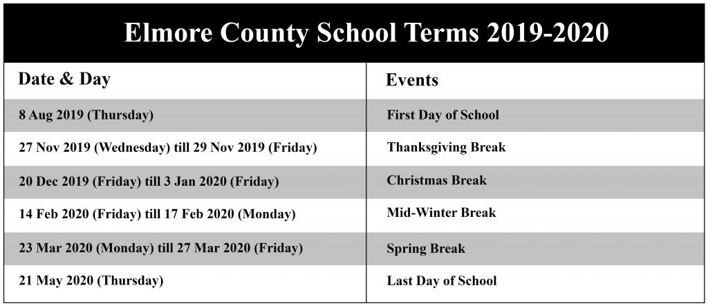 Elmore County Schools Calendar