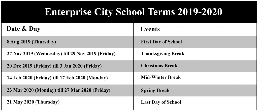 Enterprise City Schools Calendar