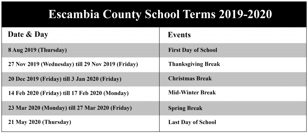 Escambia County Schools Calendar, escambia county school district calendar