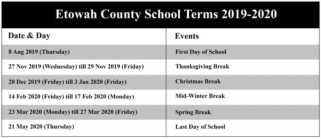 Etowah County Schools Calendar