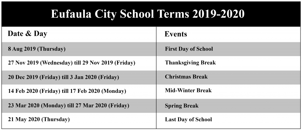 Eufaula City Schools Calendar