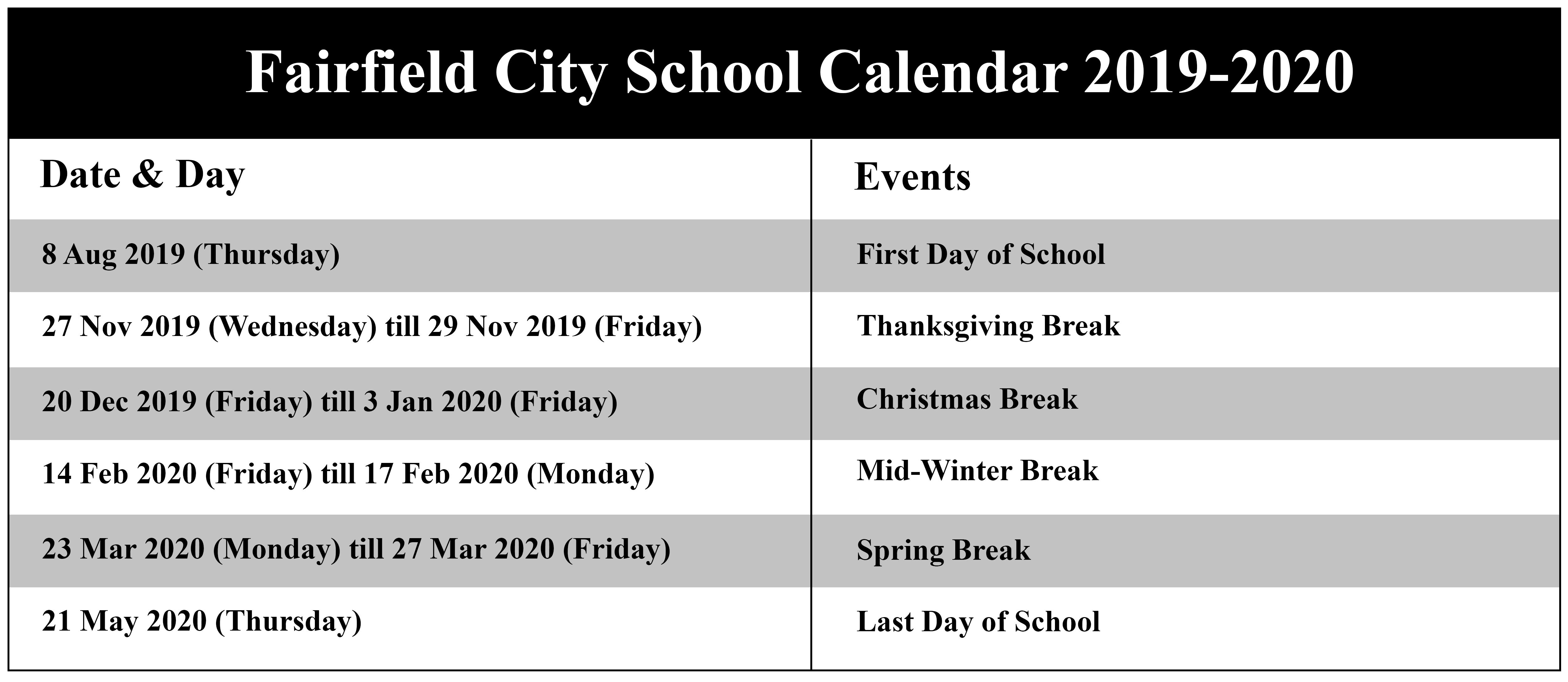 Fairfield City School Calendar