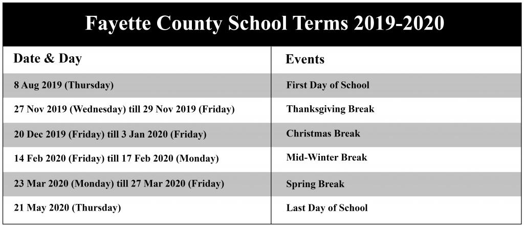 Fayette County School Calendar
