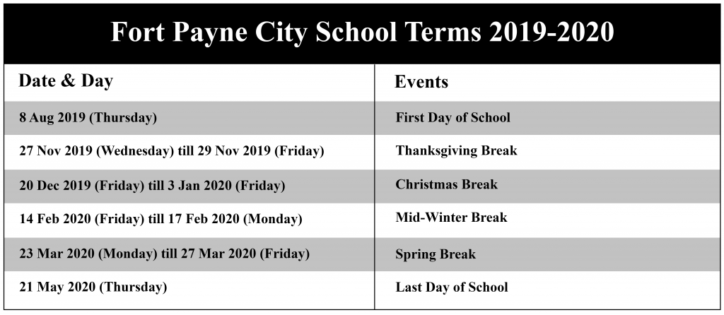 Fort Payne City School Calendar