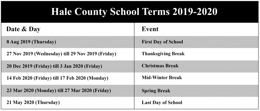 Hale County School Terms, Hale County Schools Calendar