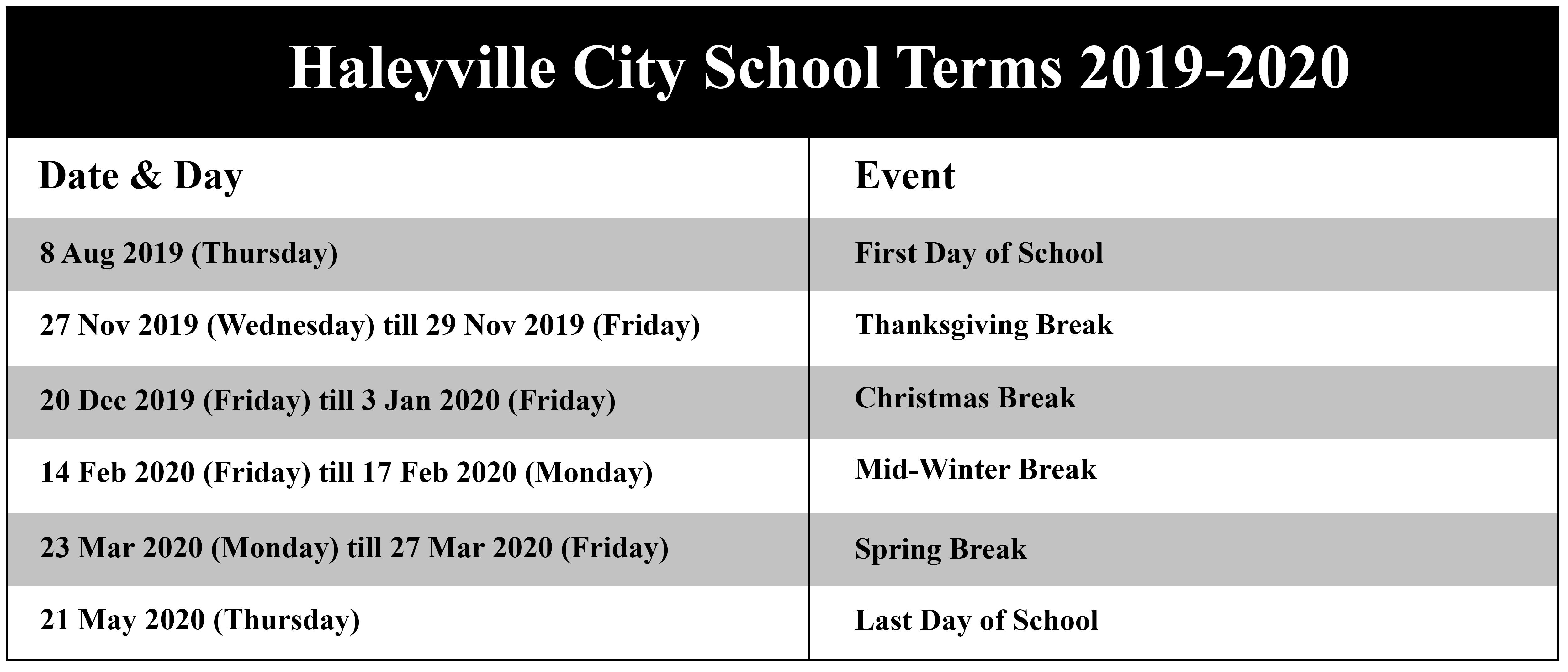 Haleyville City Schools Calendar