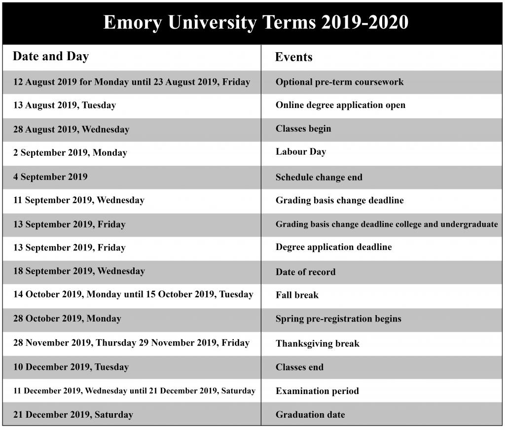 Emory Calendar.Emory University Academic Calendar 2020 Us School Calendar