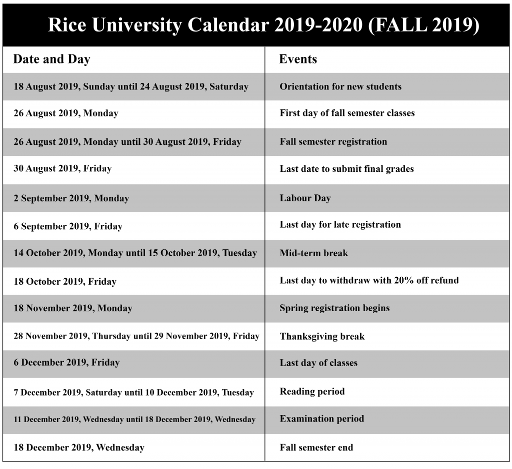 Houston Calendar Of Events August 2020.Rice University Academic Calendar 2020 Us School Calendar