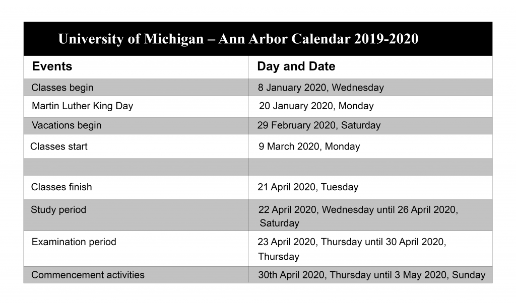 University of Michigan - Ann Arbor Calendar