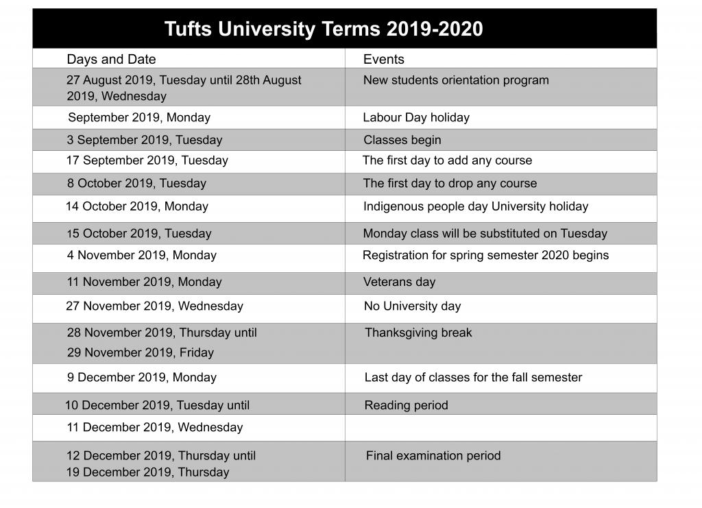 Tufts University Calendar