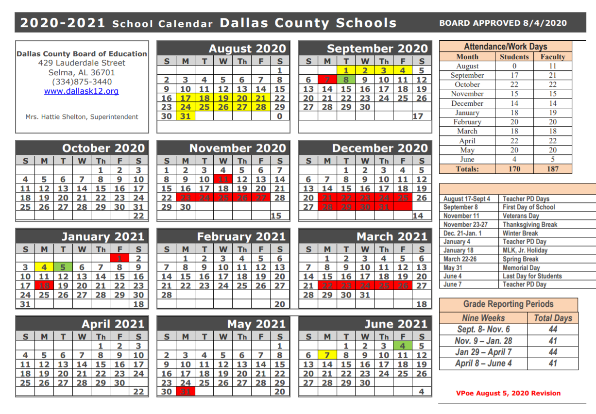 Dallas County Schools Calendar