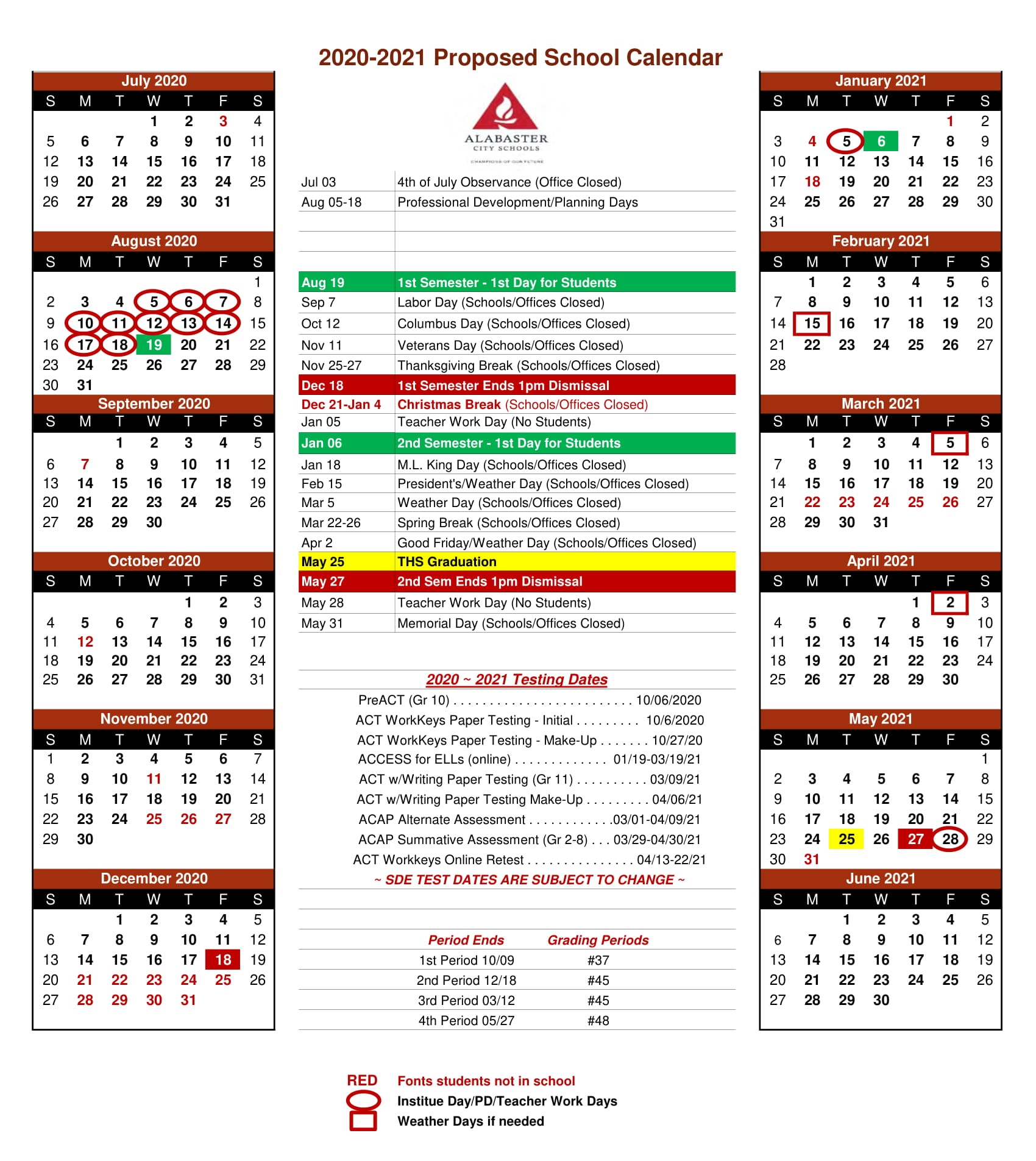 Alabaster City School Calendar 2020-2021