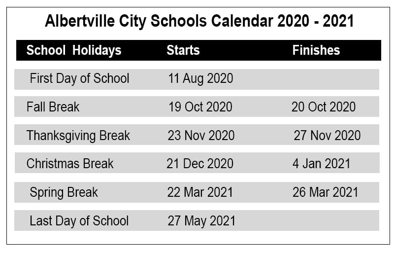Albertville City School Holidays
