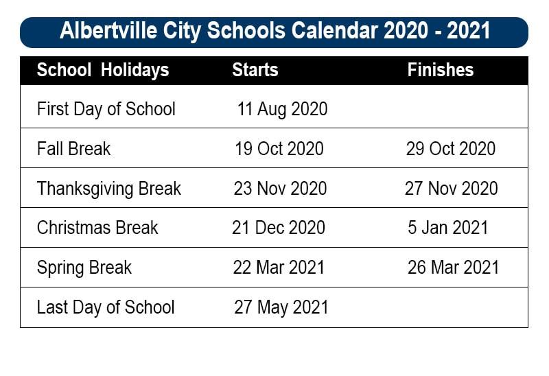 Albertville City School Calendar