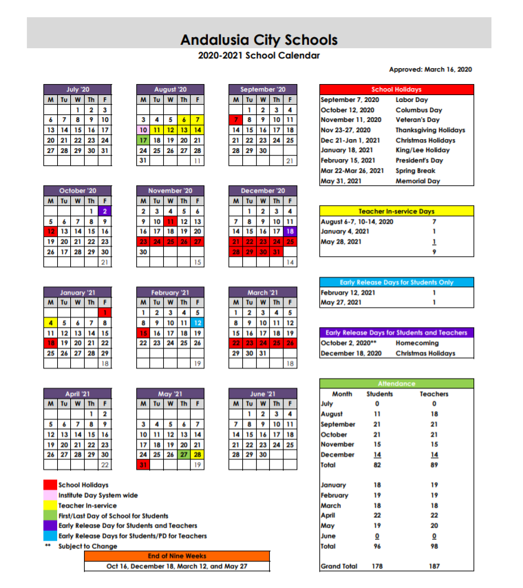 Andalusia City School Calendar 2020