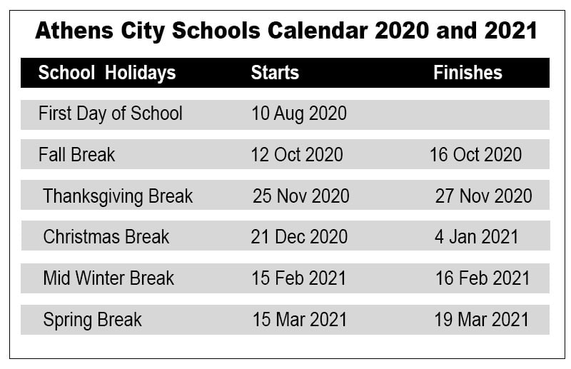 Athens City School Calendar
