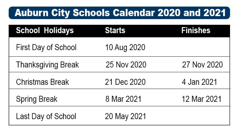 Auburn City Schools Calendar 2021 and 2022