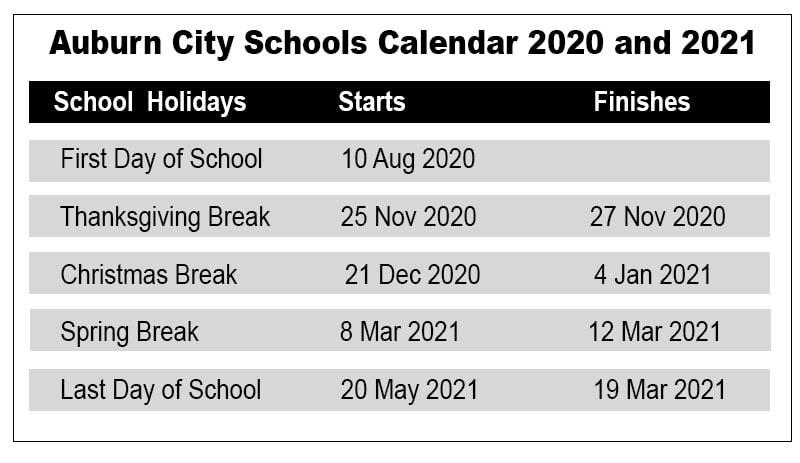 Auburn City School Calendar