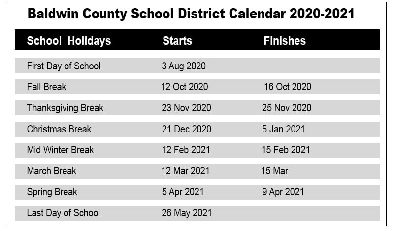 Baldwin County School Holidays