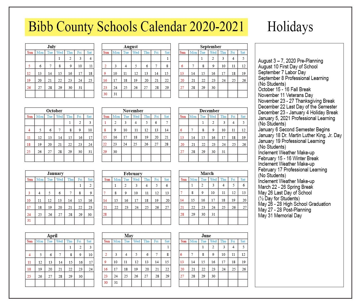 Bibb County School Terms
