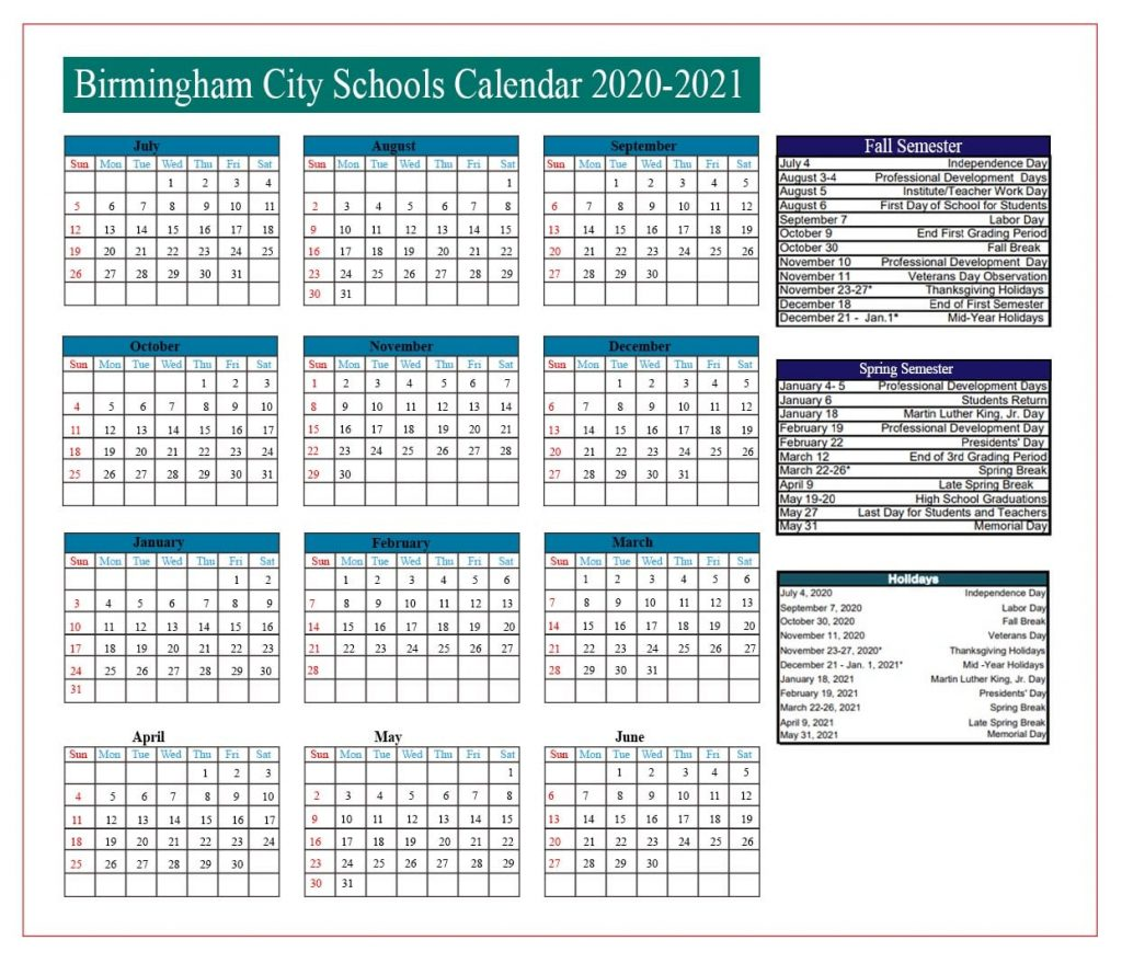 Birmingham City School Holidays