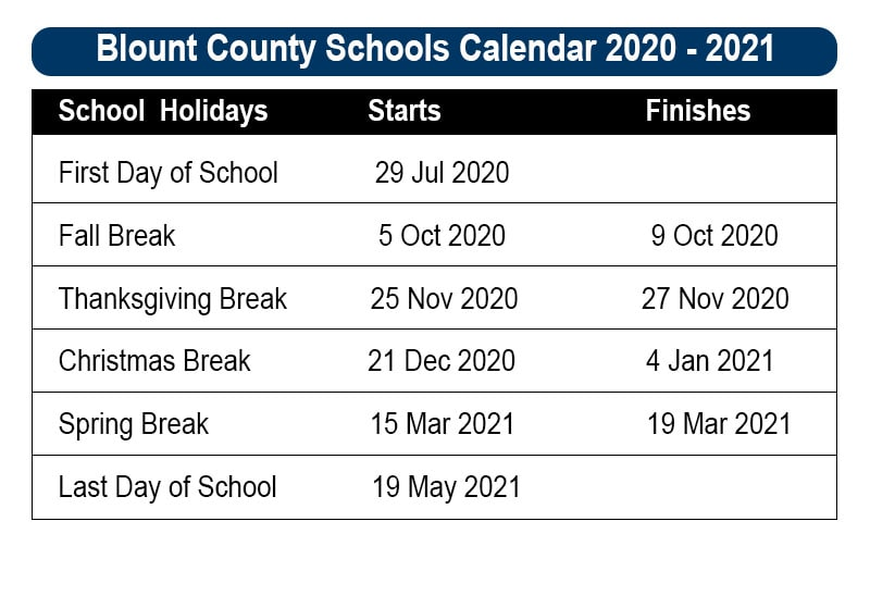Blount County School Holidays 2020