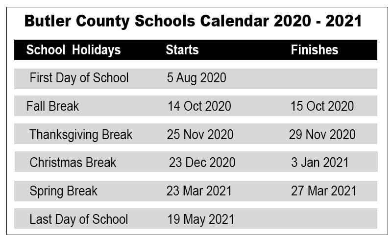 Butler City School Calendar