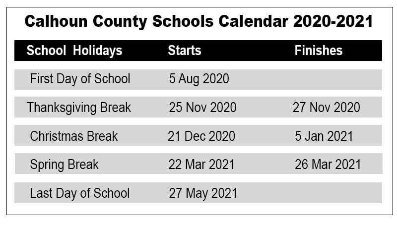 Calhoun County School Calendar