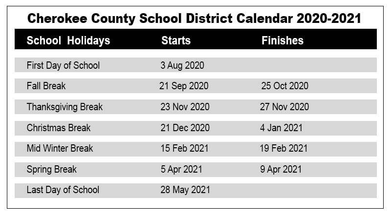 Cherokee County School Calendar