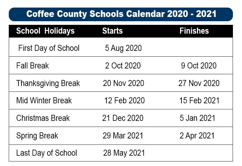 Coffee County School Calendar 2021-2022 Pictures