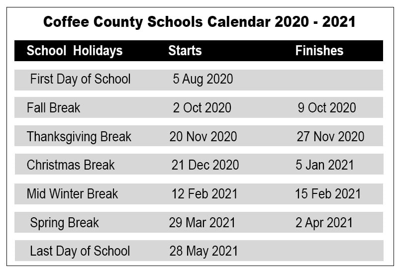 Photos of Coffee County School Calendar 2021-2022