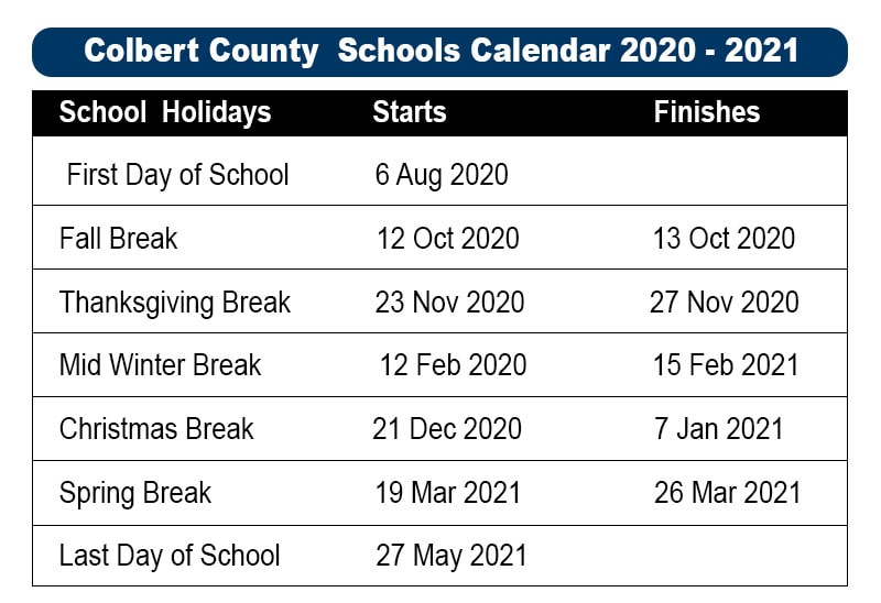 Colbert County School Holidays 2020