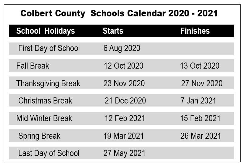 Colbert County School Calendar