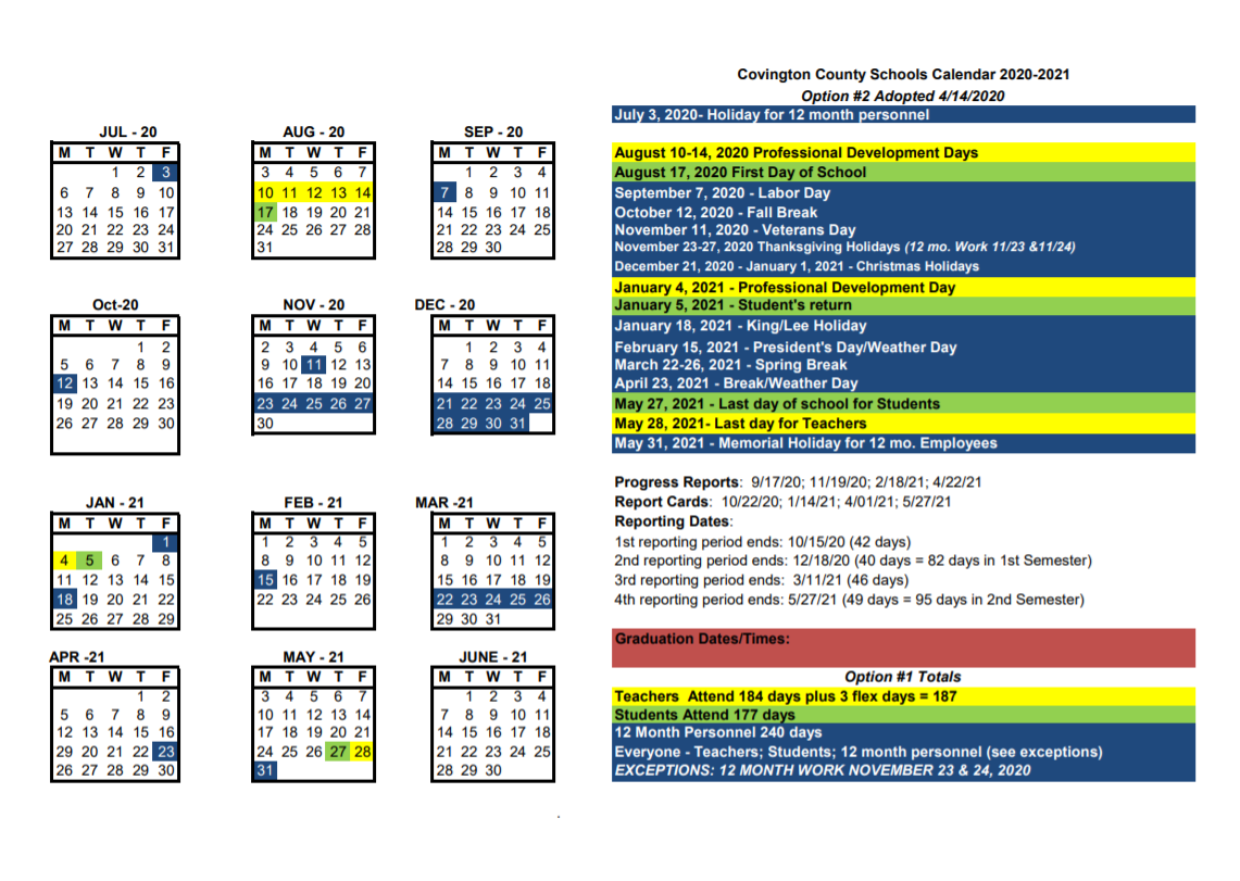 Covington County Schools Calendar 2020