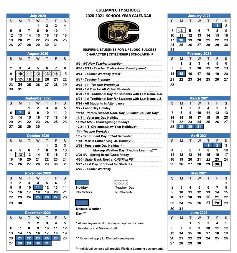 Cullman City School Calendar 2020-2021
