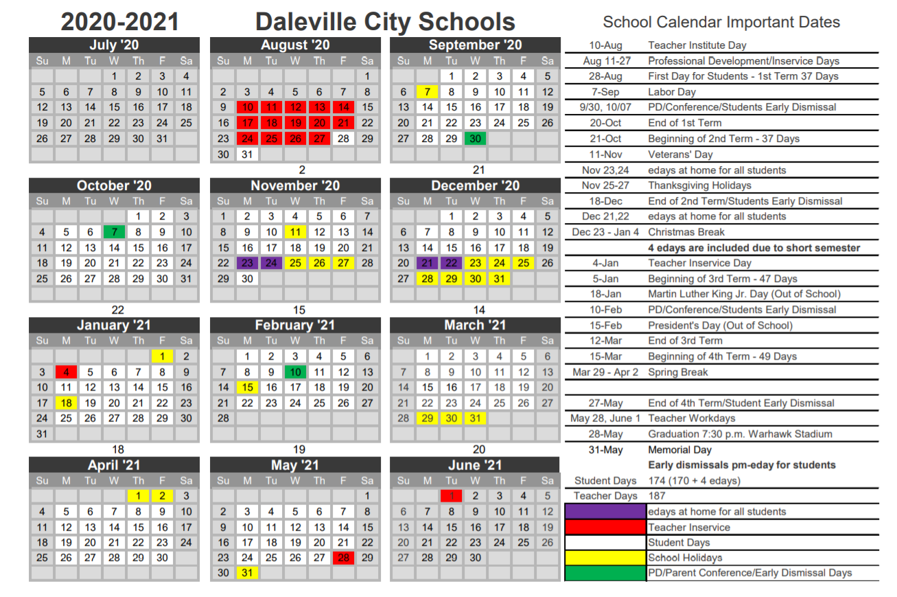 Daleville City School Holidays 2020-2021
