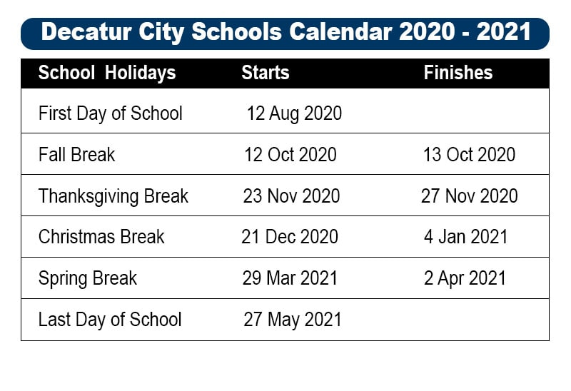 Decatur City School Holidays