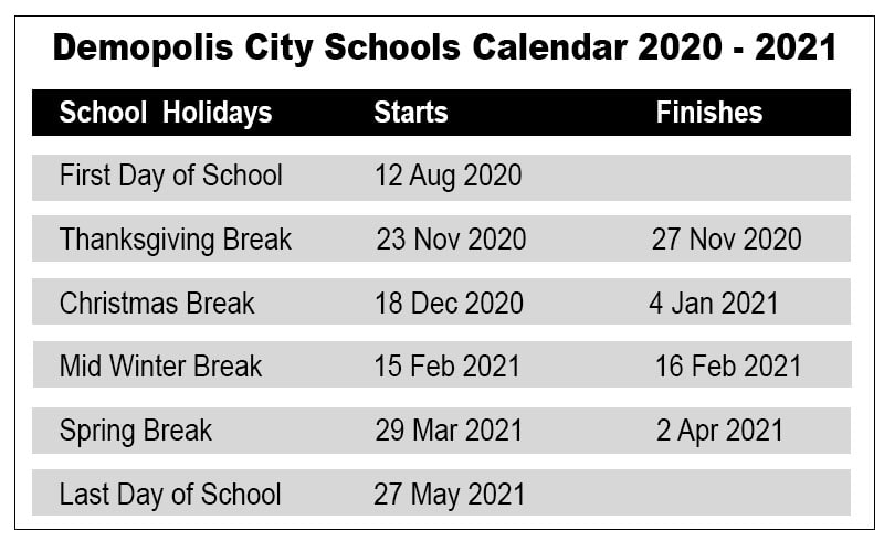 Demopolis City School Calendar