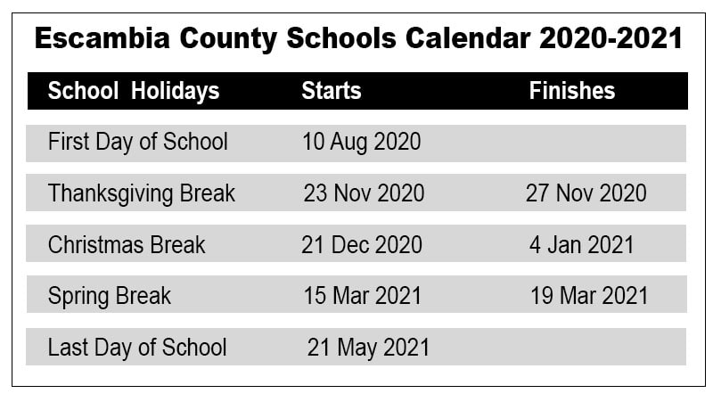 Escambia County School Calendar