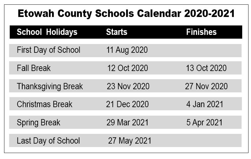 Etowah County School Calendar