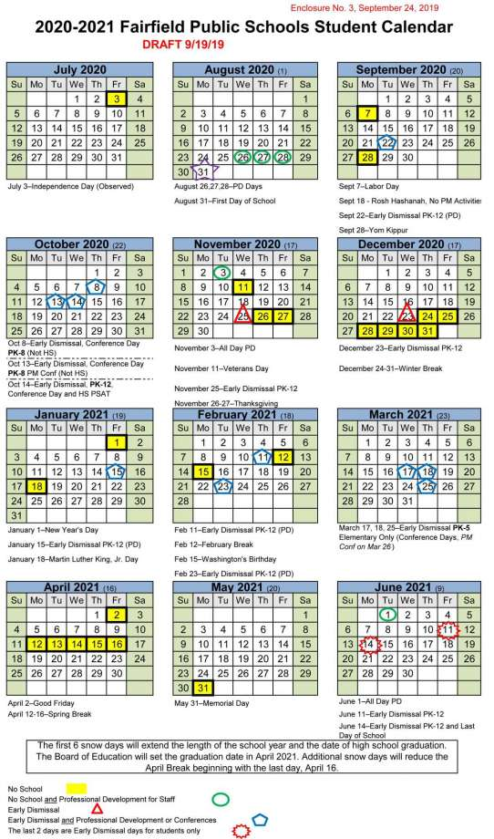 Fairfield City Schools Calendar 2020-2021