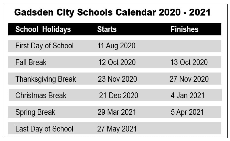 Gadsden City School Calendar
