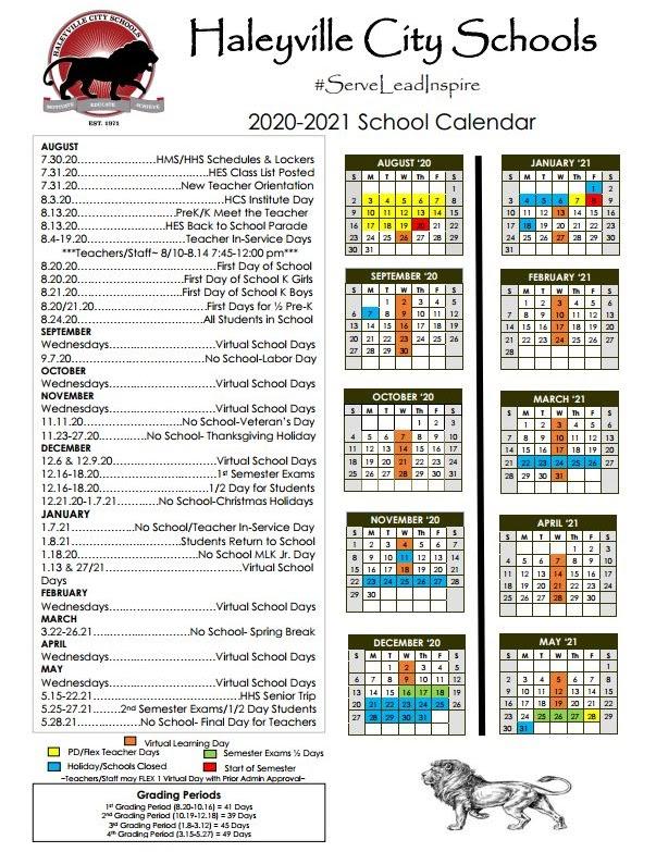 Haleyville City School Calendar 2020