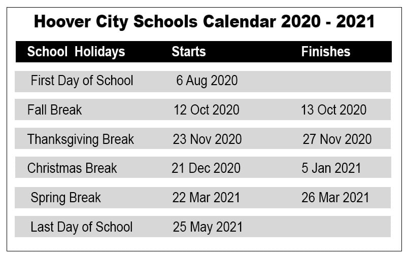 Hoover City School Calendar