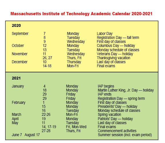 MIT University Holiday Calendar