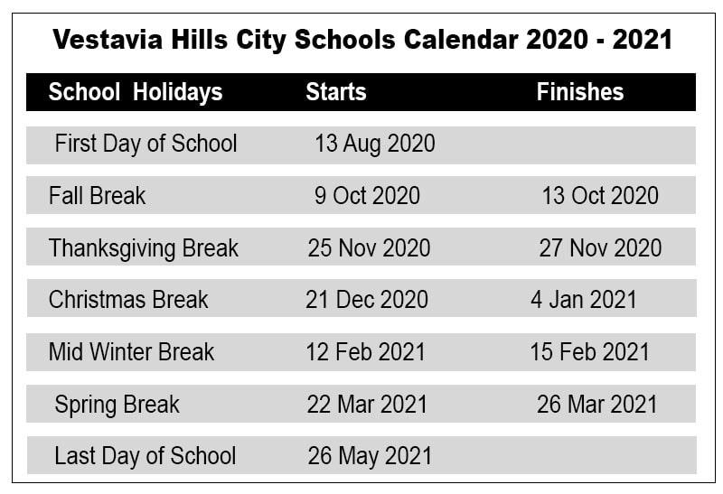 Vestavia Hills City School Calendar