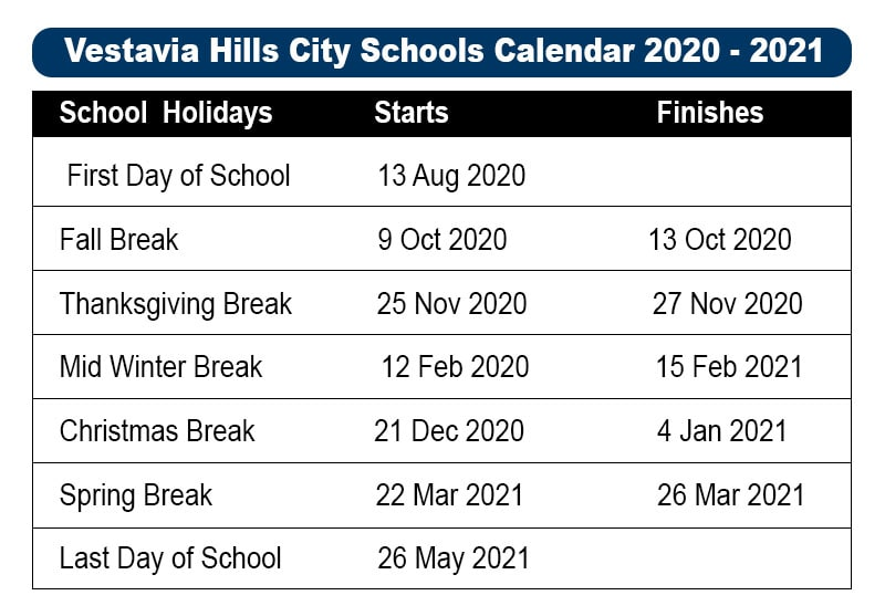 Vestavia Hills City School Holidays