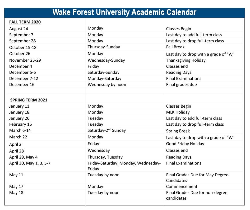Wake Forest University Calendar